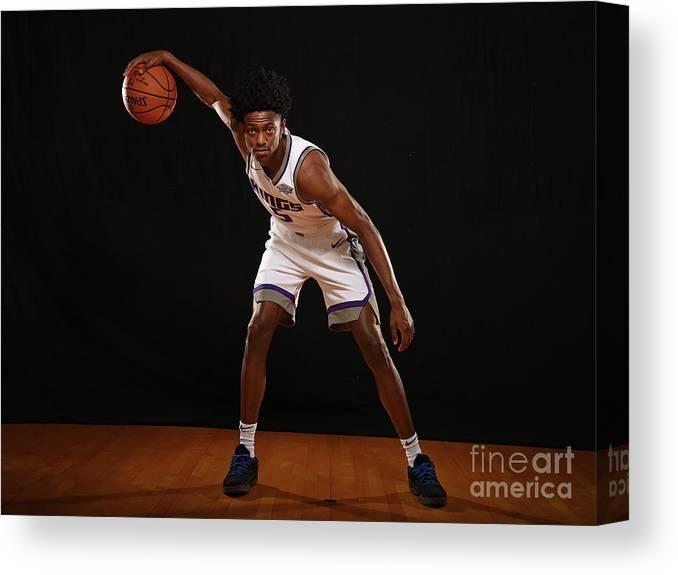 Nba Pro Basketball Canvas Print featuring the photograph De'aaron Fox by Brian Babineau