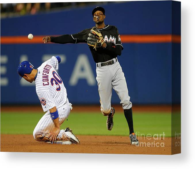 Double Play Canvas Print featuring the photograph Dee Gordon, Michael Conforto, and James Loney by Rich Schultz