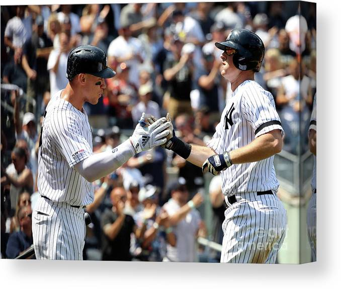 Three Quarter Length Canvas Print featuring the photograph Dj Lemahieu And Aaron Judge by Elsa