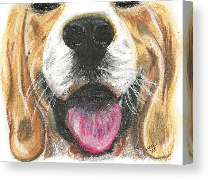 Dog Face Canvas Print featuring the painting Dog Face by Monica Resinger