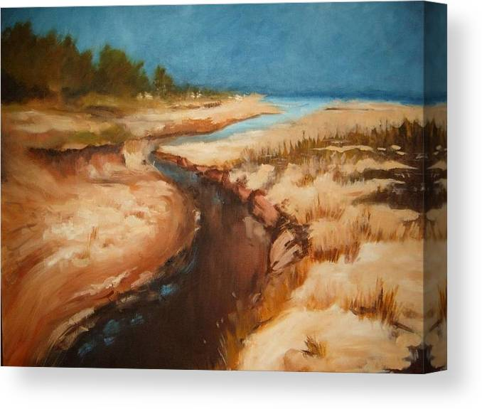 Landscape Canvas Print featuring the painting Dry rivebed by Nellie Visser