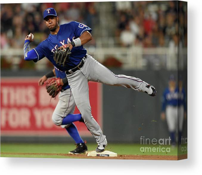 People Canvas Print featuring the photograph Elvis Andrus and Taylor Motter by Hannah Foslien