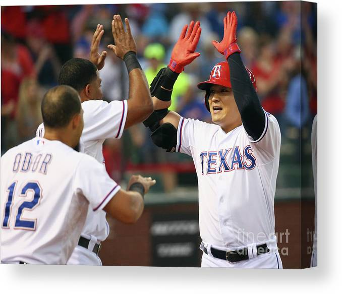 People Canvas Print featuring the photograph Elvis Andrus, Shin-soo Choo, and Rougned Odor by Tom Pennington