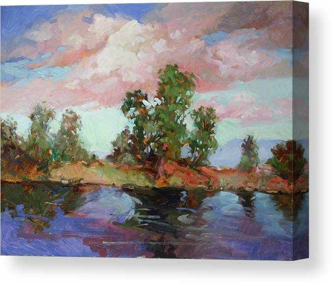 Plein Air Paintings Canvas Print featuring the painting End of the Cottonwoods by Betty Jean Billups