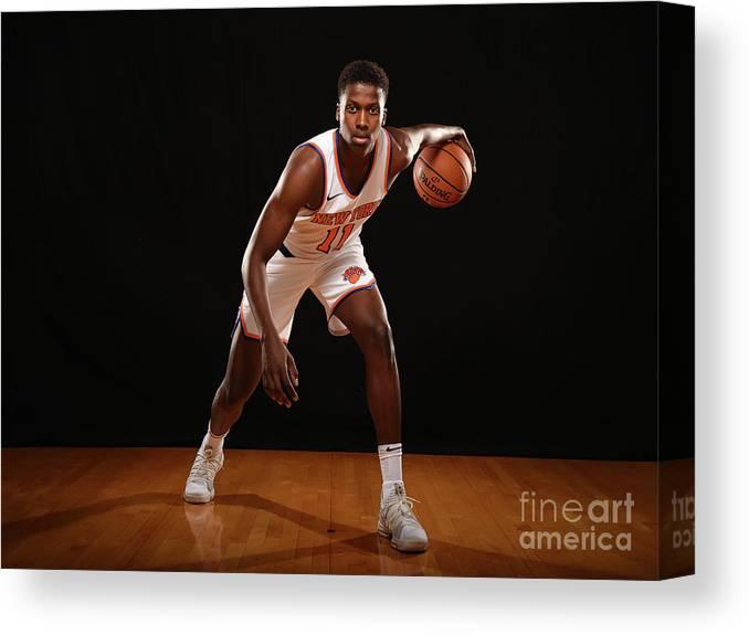 Nba Pro Basketball Canvas Print featuring the photograph Frank Ntilikina by Brian Babineau