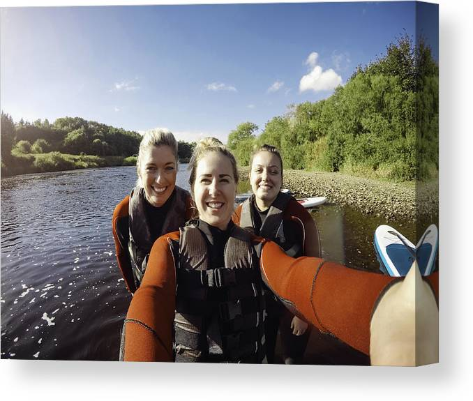 Spray Canvas Print featuring the photograph Friends Selfie! by SolStock