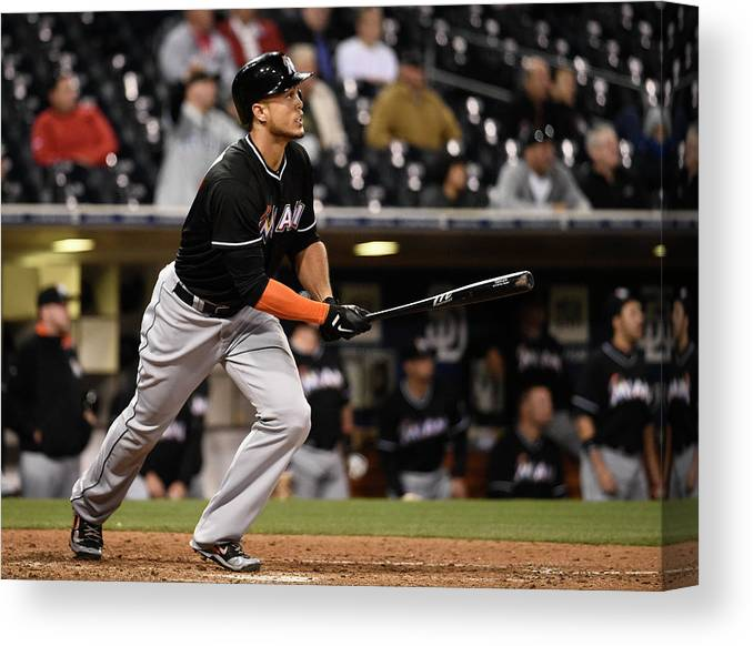 California Canvas Print featuring the photograph Giancarlo Stanton by Denis Poroy