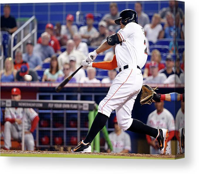American League Baseball Canvas Print featuring the photograph Giancarlo Stanton by Rob Foldy