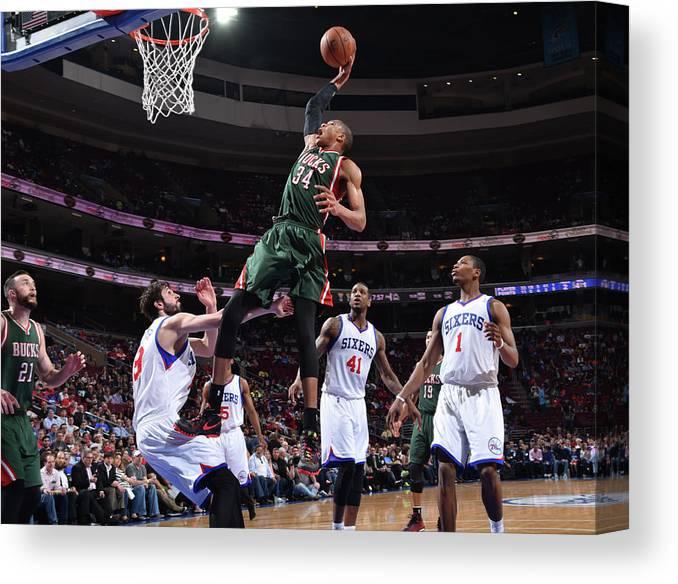 Nba Pro Basketball Canvas Print featuring the photograph Giannis Antetokounmpo by Jesse D. Garrabrant