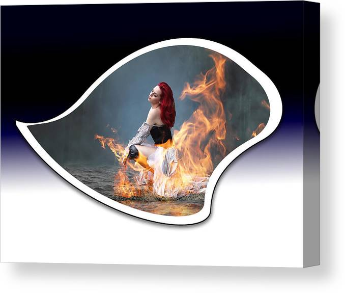 Fire Canvas Print featuring the mixed media Girl Is Hot by Marvin Blaine