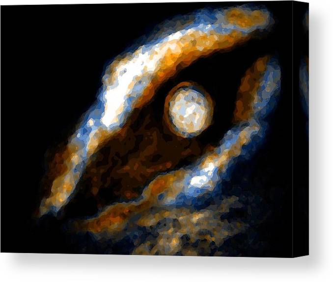 Spacescape Canvas Print featuring the mixed media Golden moon by Joseph Ferguson