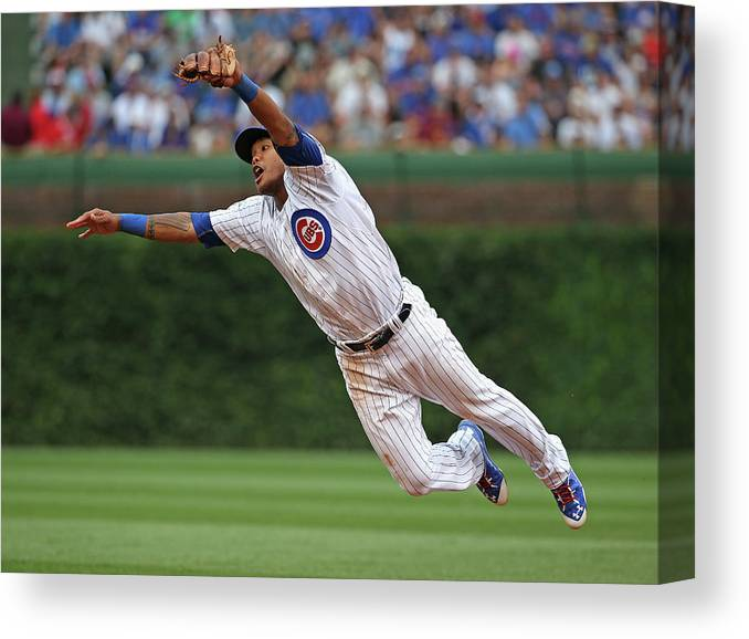 People Canvas Print featuring the photograph Hunter Pence and Addison Russell by Jonathan Daniel