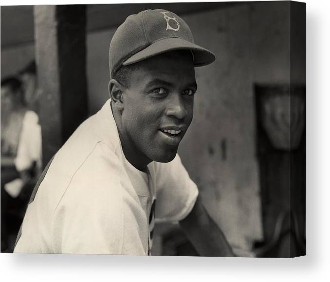 Jackie Robinson Canvas Print featuring the photograph Jackie Robinson by Hulton Archive
