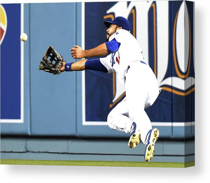 Second Inning Canvas Print featuring the photograph Joe Panik and Andre Ethier by Harry How