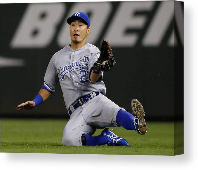 American League Baseball Canvas Print featuring the photograph Justin Smoak by Otto Greule Jr