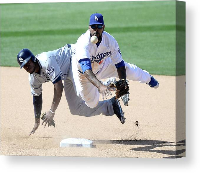 Double Play Canvas Print featuring the photograph Justin Upton and Howie Kendrick by Harry How