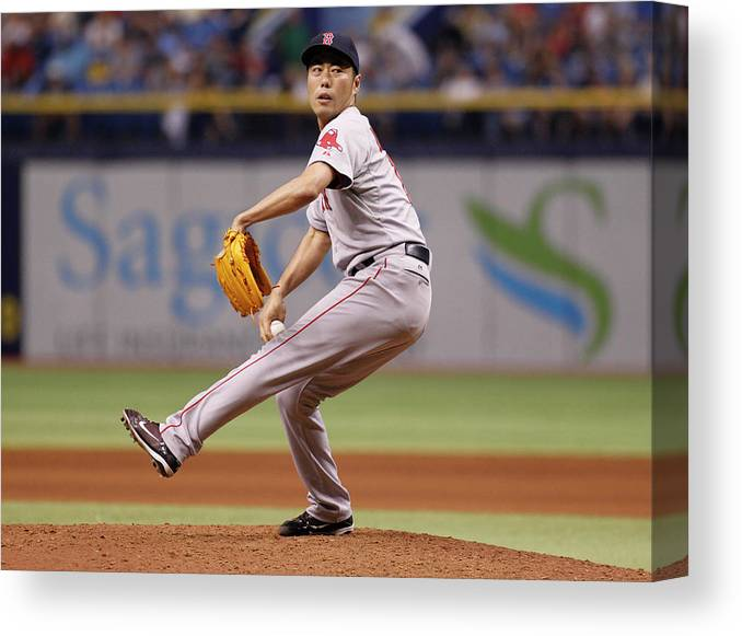 Ninth Inning Canvas Print featuring the photograph Koji Uehara by Brian Blanco