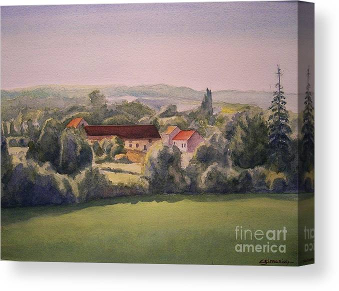 Watercolor Canvas Print featuring the painting Landscape in Normandie Perche by Christian Simonian