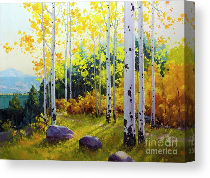 Aspen Canvas Print featuring the painting Late Afternoon Aspen Vista by Gary Kim