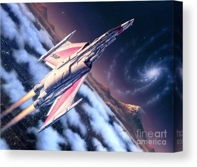 Spaceship Canvas Print featuring the digital art Launch At Dawn by Stu Shepherd