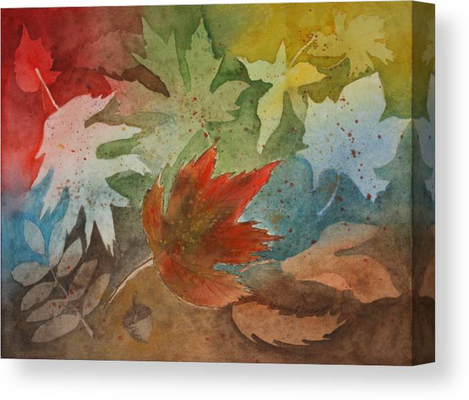 Leaves Canvas Print featuring the painting Leaves II by Patricia Novack