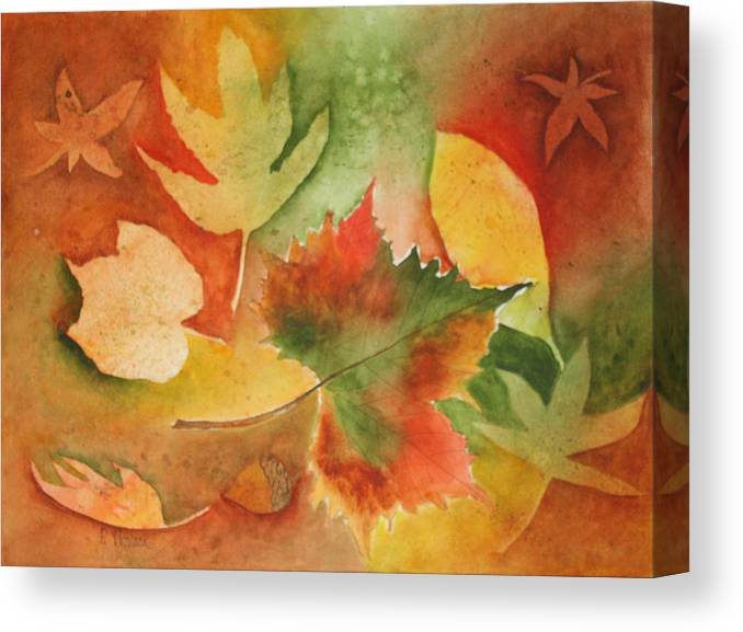 Leaves Canvas Print featuring the painting Leaves III by Patricia Novack