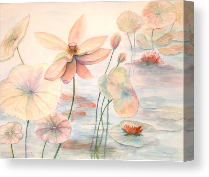 Lily Pads And Lotus Blossoms Canvas Print featuring the painting Lily Pads by Ben Kiger