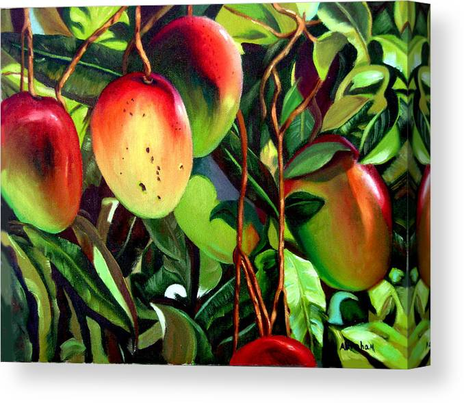 Tree Canvas Print featuring the painting Mangos by Jose Manuel Abraham