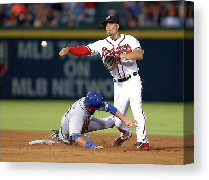Atlanta Canvas Print featuring the photograph Michael Cuddyer and Jace Peterson by Mike Zarrilli