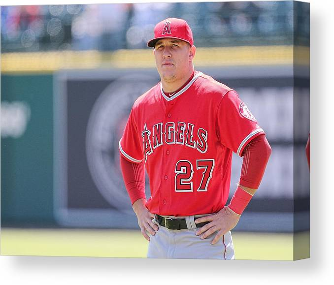 People Canvas Print featuring the photograph Mike Trout by Leon Halip