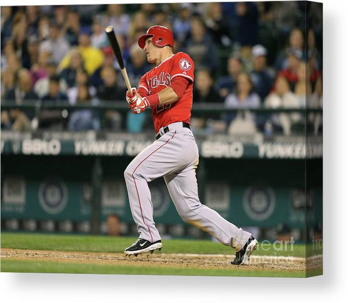 People Canvas Print featuring the photograph Mike Trout by Otto Greule Jr
