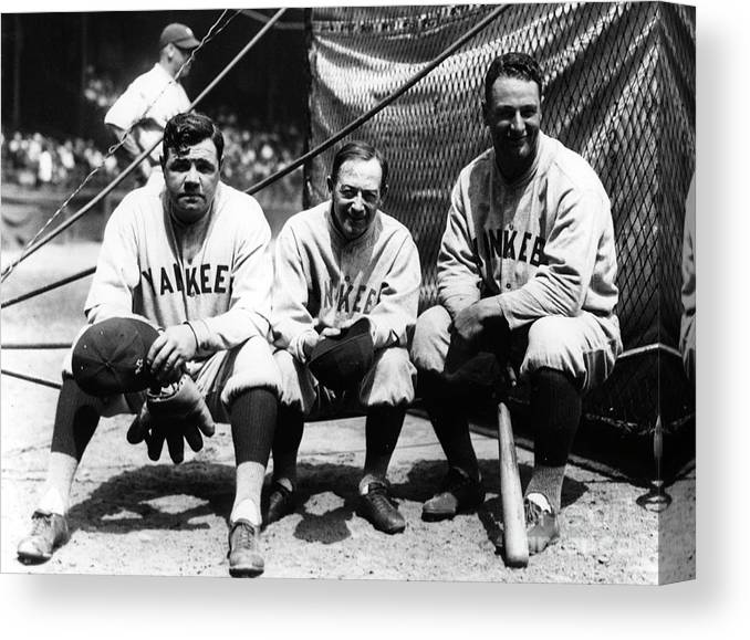American League Baseball Canvas Print featuring the photograph Miller Huggins, Lou Gehrig, and Babe Ruth by Transcendental Graphics