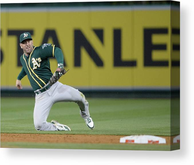 Second Inning Canvas Print featuring the photograph Nick Punto and Chris Iannetta by Harry How