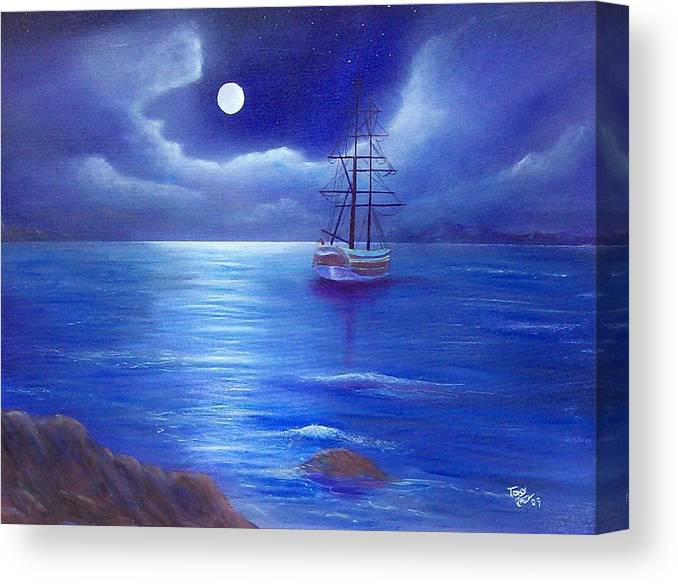 Seascape Canvas Print featuring the painting Night Seascape by Tony Rodriguez