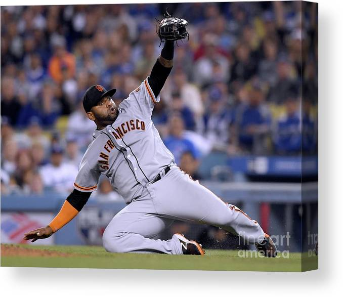 People Canvas Print featuring the photograph Pablo Sandoval and Yasiel Puig by Harry How