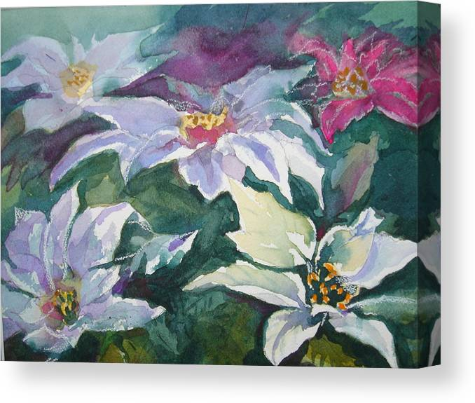 Poinsettias Canvas Print featuring the painting Poinsettias by Judy Fischer Walton