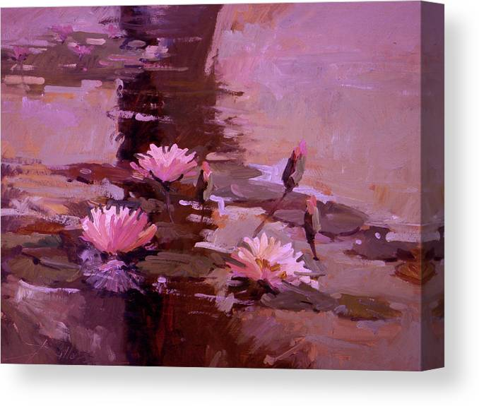 Water Lily Paintings Canvas Print featuring the painting Pond Blossoms - water lilies by Betty Jean Billups