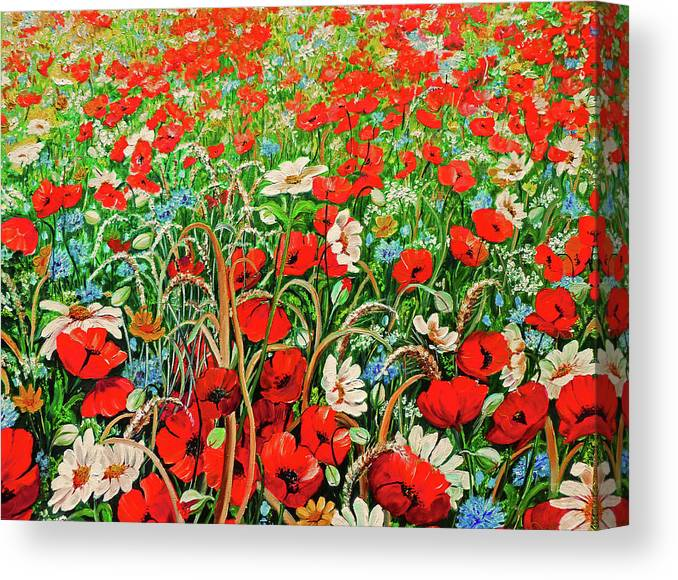 Floral Painting Flower Painting Red Poppies Painting Daisy Painting Field Poppies Painting Field Poppies Floral Flowers Wild Botanical Painting Red Painting Greeting Card Painting Canvas Print featuring the painting Poppies In The Wild by Karin Dawn Kelshall- Best