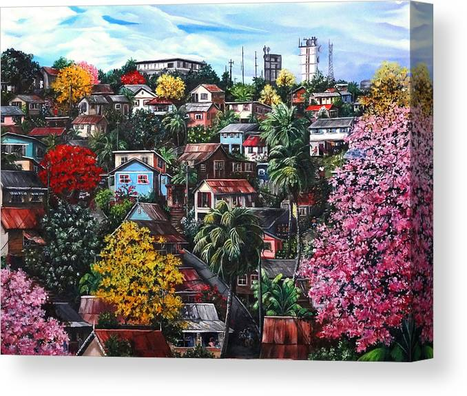 Landscape Painting Cityscape Painting Caribbean Painting Houses Hill Life Color Trees Poui Blossoms Trinidad And Tobago Floral Tropical Caribbean Canvas Print featuring the painting Poui Calling For The Rains by Karin Dawn Kelshall- Best