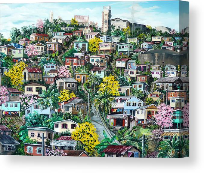 Landscape Painting Cityscape Painting Original Oil Painting  Blossoming Poui Tree Painting Lavantille Hill Trinidad And Tobago Painting Caribbean Painting Tropical Painting Canvas Print featuring the painting Poui On The Hill by Karin Dawn Kelshall- Best