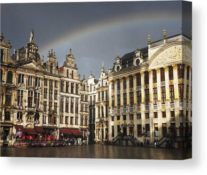 Belgium Canvas Print featuring the photograph Rainbow over Grand Place by Leonardo Regoli