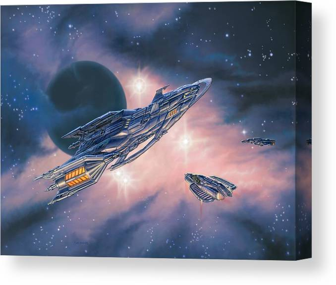 Space Canvas Print featuring the painting Rendezvous At Ominia Mekos by Stu Shepherd