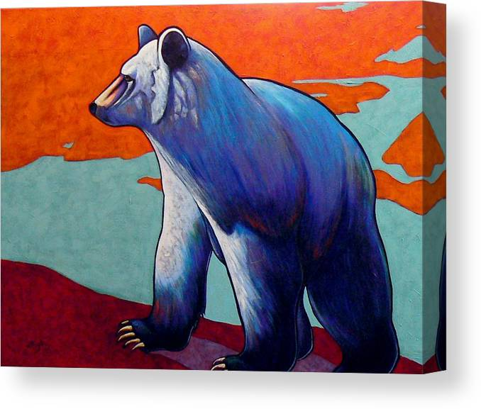 Wildlife Canvas Print featuring the painting Return of the Spirit Bear by Joe Triano