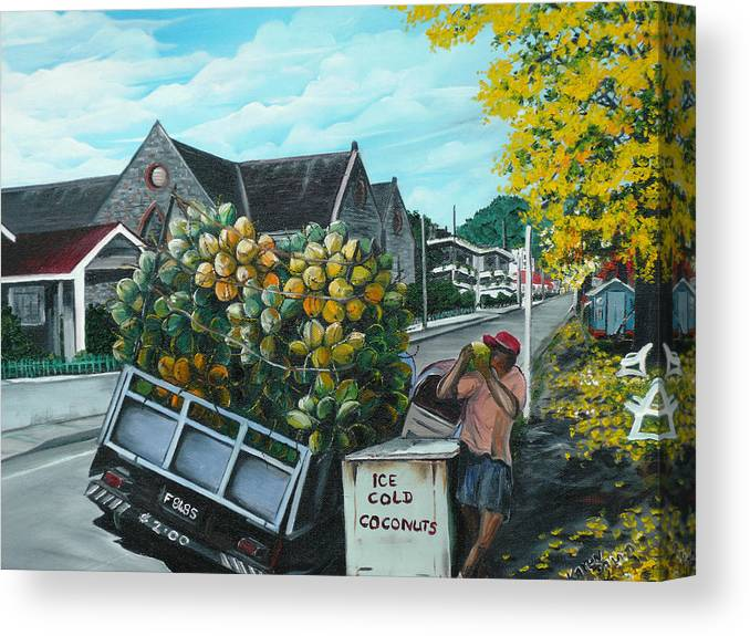 Caribbean Painting Coconuts Vendor Trinidad And Tobago Painting Savannah Paintings  Poui Tree Painting Tropical Painting Canvas Print featuring the painting Savannah Coconut Vendor by Karin Dawn Kelshall- Best