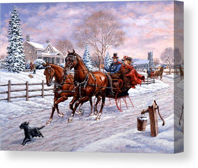Christmas Canvas Print featuring the painting Sleigh Ride by Richard De Wolfe