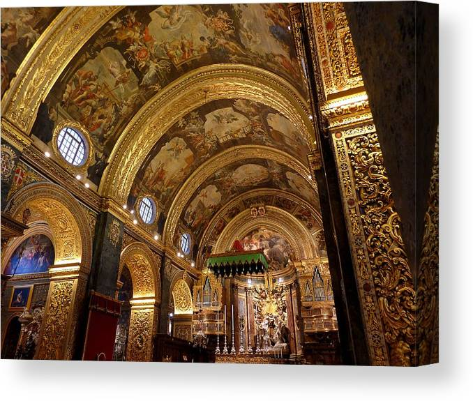 Arch Canvas Print featuring the photograph St. John's Cathedral in Valletta by Frans Sellies