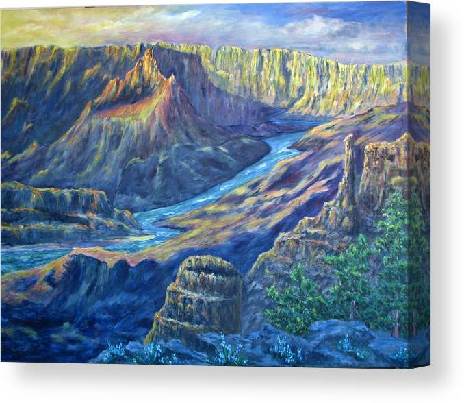 Lights And Shadows Canvas Print featuring the painting Sunrise in the Caynon by Thomas Restifo