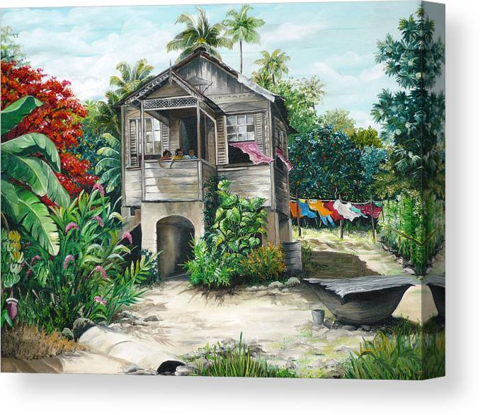 Landscape Painting Caribbean Painting House Painting Tobago Painting Trinidad Painting Tropical Painting Flamboyant Painting Banana Painting Trees Painting Original Painting Of Typical Country House In Trinidad And Tobago Canvas Print featuring the painting Sweet Island Life by Karin Dawn Kelshall- Best