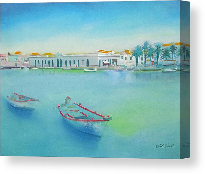 Boat Canvas Print featuring the painting Tavira Portugal the Old Market by Charles Stuart