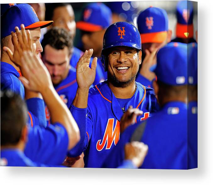 Second Inning Canvas Print featuring the photograph Taylor Teagarden and Bobby Abreu by Rich Schultz